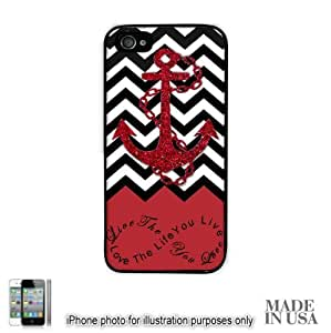 iphone covers Anchor Live the Life You Love Infinity Quote - Red Black White Chevron with Anchor (Not Actual Glitter) Iphone 6 plus Case - BLACK RUBBER by Unique Design Gifts