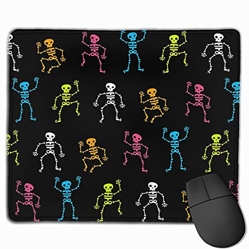 KUYTZDCUTE Halloween Skeleton Bones Backgrounds Mouse Pad with Stitched Edge, Premium Non-Slip Rubber Gaming Mouse Pad for Laptop & PC, 11.8