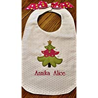 Christmas tree applique baby bib