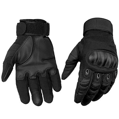 HOMEE Tactical Gloves Touch Screen Military Rubber Hard Knuckle Full Finger Gloves Fit for Cycling Airsoft Paintball Motorcycle Hiking Camping (Black, M)