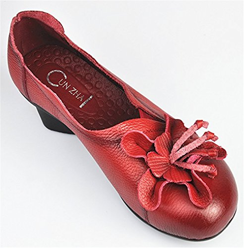 Heel On Women's Low Leather Style Cunzhai Toe Round Slip Chunky red 1 Pumps Genuine 4xT1qwAgAz