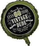 vintage dude 60 - Creative Converting Vintage Dude 60th Birthday 2-Sided Round Mylar Balloon