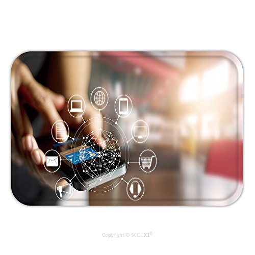 Flannel Microfiber Non-slip Rubber Backing Soft Absorbent Doormat Mat Rug Carpet Man Using Mobile Payments Online Shopping And Icon Customer Network Connection On Screen M Banking 484916758 for - Shopping Australia Line On