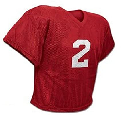 0799409a0 CHAMPRO FJ2 Poly Mesh Waist Length Football Adult Practice Jersey Red (AS/M)