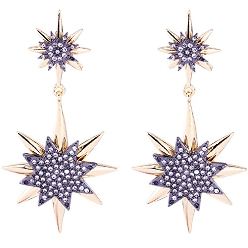 Elegant Snowflake Flower Hook Gold Plated Dangle Earrings Sparkling Rhinestone Wedding Gifts (gold-plated-base) ()