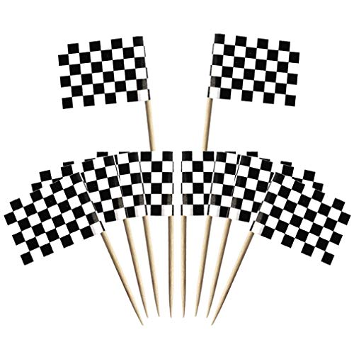 Wobe 100 Pack Checkered Racing Flag Toothpick Flags, Cupcake Flags Labeling Marking Cake Toppers Shower Decoration Dinner Flags Cocktail Sticks Markers for Cupcake Sandwiches Appetizers Cheese