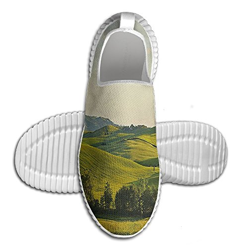 DiamondsJun Unisex Tuscany Hills Italy Meadow Greenery Pastoral Rural Scenery Farmland Scenic All Over 3D Printed Mesh Slip On Fashion Comfortable Shoes 42 - Hill Armoire