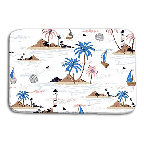 Dengtashi Doormat Indoor Outdoor Summer Seamless Island Pattern White Background Landscape Palm Trees Beach Ocean Vector Hand Drawn Style Design - Palm Monkey Elephant Tree