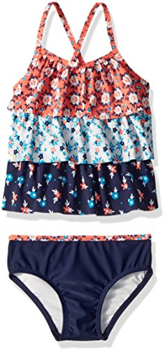 Piece Tankini 2 Girls Toddler (Jessica Simpson Girls' Toddler Two-Piece Tankini Swimsuit Set, Tiered Folky Ditsy, 4T)