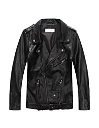 LJYH Boys' Faux Leather Biker Jacket With Zips