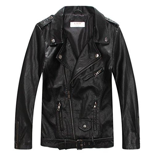 her Biker Jacket with Zips,Black,T11-12(11-12years) ()