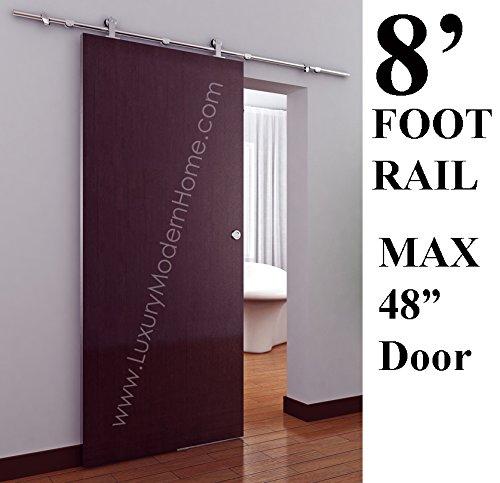 sbd MUNICH - 98'' 8' Ft Foot 2.5m Rail - 50'' MAX door - Modern Stainless Steel Interior Sliding Barn Wooden Door Hardware Track Set 304 - Brushed Satin Stainless Steel 304 by www.LuxuryModernHome.dom (Image #9)