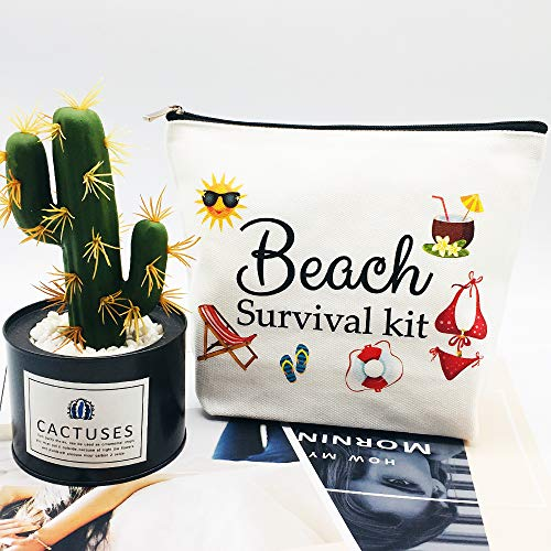 Beach Bags for Women Beach Tote Gifts Beach Survival Kit Cosmetic Bag Funny Beach Accessories Travel Bag Organizer Toiletry Bag for Birthday Gifts