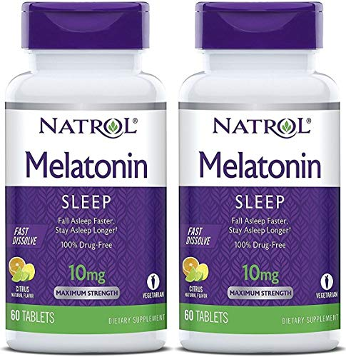 Natrol Melatonin Fast Dissolve Tablets, Citrus Flavor, 10mg, 60 Count (Pack of 2)