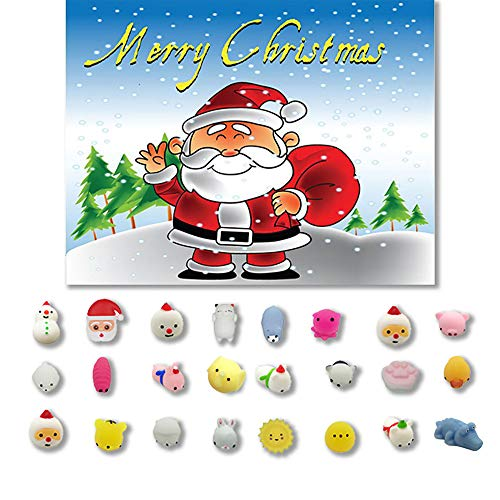 Wffo Slow Rising Squishy Toy, 24PCs Christmas Toys Mini Cute Squeeze Funny Toy Soft Stress Relief Toy DIY Decor (A)