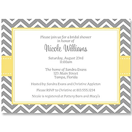 bridal shower invitations chevron stripes wedding yellow gray personalized