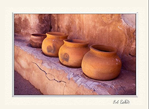 11 x 14 inch mat including a photograph of four ceramic pots on shelf of adobe walled building at the historical Southwest Spanish Tumacacori church m…