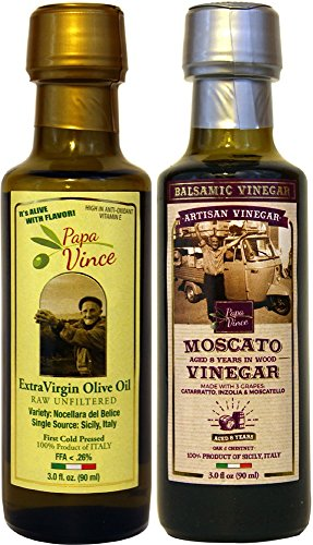 (Papa Vince Olive Oil Extra Virgin + Balsamic Vinegar: EVOO First Cold Pressed, Vinegar Aged 8-years in wood, Italian Salad Dressing Ingredients - Produced by our family in Sicily | 3 fl oz each )