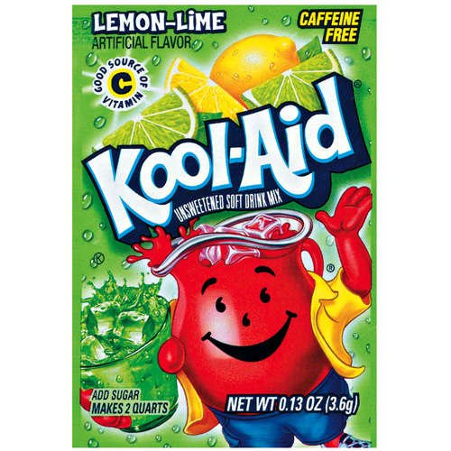 Kool-Aid Lemon Lime Unsweetened Soft Drink Mix, 0.13 Oz (Bonus Pack of 50 Packets)