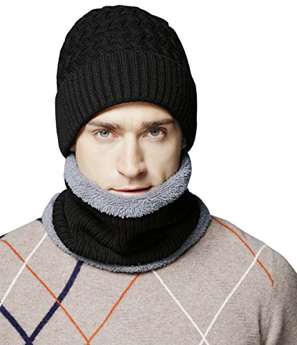 Men's Thick Warm Knitted Hat and Scarf Winter Fuzzy Cap Beanie Hat, Black_