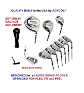 AGXGOLF Ladies Right Hand, All Graphite XS Tour Series Complete Golf Set: 460 Driver, 5 Wood, 4 Hybrid + 5-9 Irons +Pitching Wedge+Sand Wedge: Ladies Flex; Petite, Regular or Tall Length: USA!