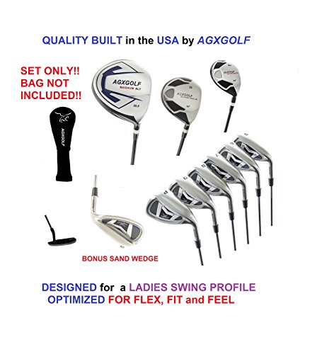 AGXGOLF Ladies Right Hand XS Tour Series Complete Golf Set: 460 Driver, 5 Wood, 3 Hybrid + 5-9 Irons +Pitching Wedge+Sand Wedge: Ladies Flex; Regular Length: - Iron Wedge Set Pitching 3