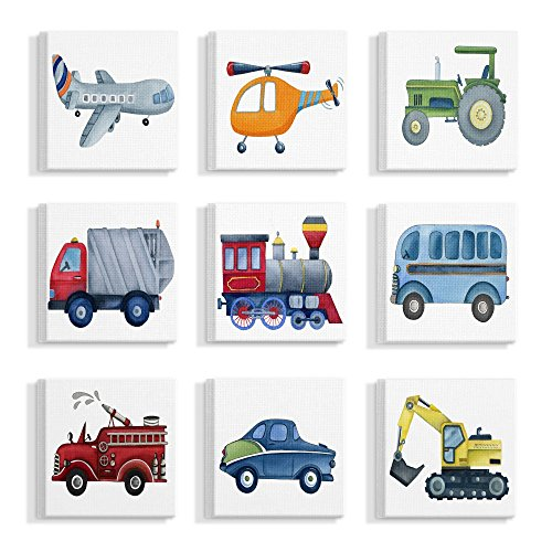 The Stupell Home Decor Collection Plane and Automobile Transportation Illustrations Stretched Canvas Wall Art, Multi/Color made in Rhode Island