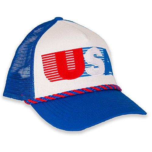 USA Patriotic Snapback Cap - American Retro Mesh Hat (Blue/White/Red)