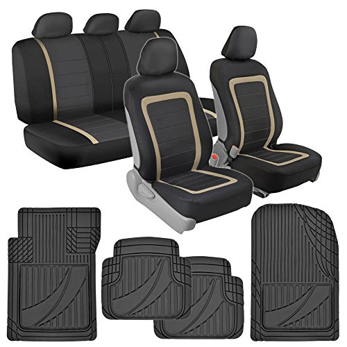 BDK Advanced Performance Car Seat Covers & Heavy Duty Rubber Floor Mats Combo (w/Adv Performance Mats)