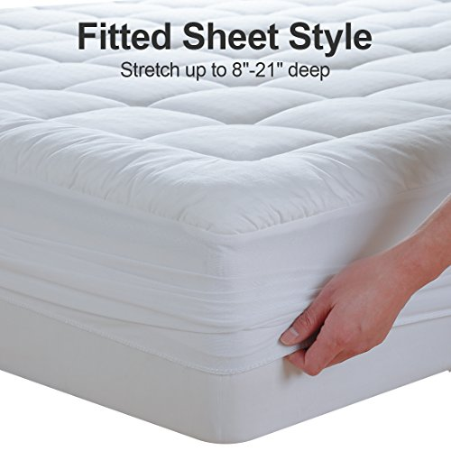 "EASELAND California King Mattress Pad Pillow Top Mattress Cover Quilted Fitted Mattress Protector Long Cotton Top 8-21"" Deep Pocket Cooling Mattress Topper"