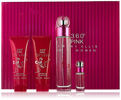 Perry Ellis 360 Pink for Women Gift Set (Eau de Parfum Spray 3.4 Ounce, Lotion, Shower Gel, Eau de Parfum Spray 0.25 Ounce) ()