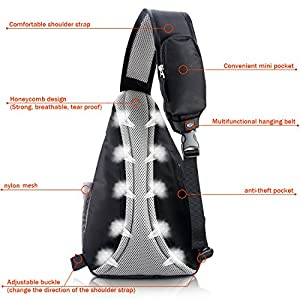 Sling Shoulder Crossbody Daypack Bag for Travel and outdoor sports Men & Women (Black)