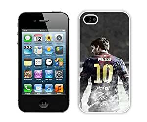 Beautiful iPhone 4 4S Case ,Unique And Lovely Designed With Soccer Player Lionel Messi 04 White iPhone 4 4S Phone Case