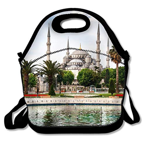 Sultan Mosque Ahmed (Lievon Sultan Ahmed Mosque Reusable Lunch Bag Insulated Lunch Tote Soft Cooler Bag)