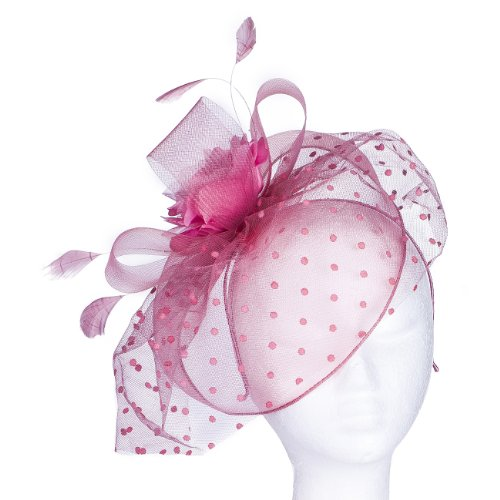 Organza Bow Headband - Our 'Highgrove' Vintage Style Fascinator Comes in 6 Beautiful Colours to Match Any Attire. Style with a Soft Nylon Net Rim to Cover the Face Partly, Large Satin & Organza Corsage Set on Net Bows, a Fan of Flock Polka Dot Net, with Tonal Real Feather Sprigs! Available in Black, Ivory, Brown, Grey, Dusky Pink & Light Aqua