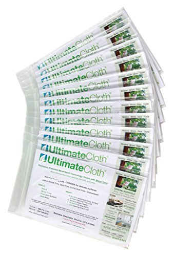 Ultimate Cloth The, Mirafiber - Advanced Microfiber Cleaning Cloth Reusable, EcoFriendly Chemical Free, Superior Multi-Surface Cleaning Cloth 12 Pack Medium Size White by Ultimate Cloth (Image #1)