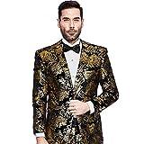 Mens Blazer Floral Dress Suit Jacket Party Tuxedos Slim Fit Luxury Notched Lapel Blazer(Golden, S)