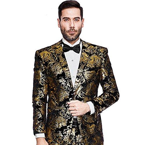 Party Prom Jacket - Mens Blazer Floral Dress Suit Jacket Party Tuxedos Slim Fit Luxury Notched Lapel Blazer(Golden, XXL)