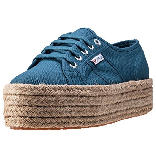 Superga 2790 Flatform Rope Womens Trainers - Blue (Large Image)