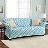Home Fashion Designs Printed Stretch Sofa Furniture Cover Slipcover Brenna Collection, Sky Blue