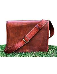 HLC Leather Full Flap Messenger Handmade Bag Laptop Bag Messenger Bag Satchel Bag