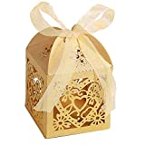 Little Snow Direct 20pcs Love Heart Luxury Boxes With Organza Ribbons Wedding Party Favour Laser Cut Sweets Cake Candy Gift Favor - Champagne Gold