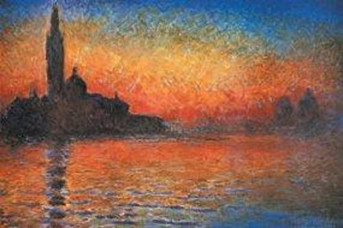 Global Prints Claude Monet Sunset In Venice Art Print Poster 28x22 inch ()