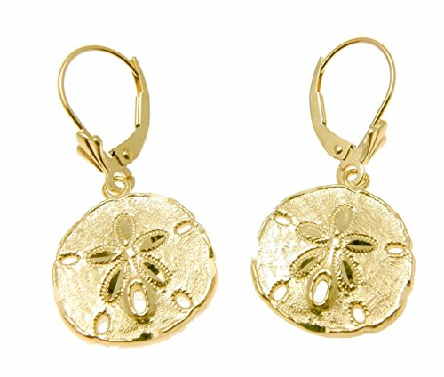14K yellow gold Hawaiian 16mm diamond cut sand dollar dangle leverback earrings by Arthur's Jewelry