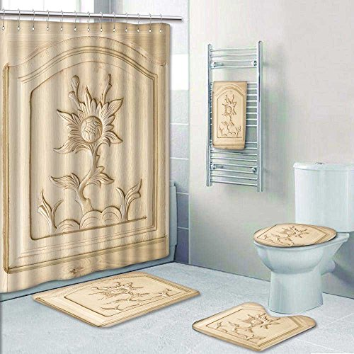 Designer Carved Ring (Chaoranhome Designer Bath Polyester 5-Piece Bathroom Set,carved of floweron wooden door background Print bathroom rugs shower curtain/rings and Both Towels(Large))