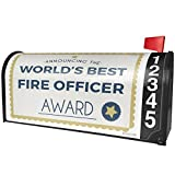 NEONBLOND Worlds Best Fire Officer Certificate Award Magnetic Mailbox Cover Custom Numbers