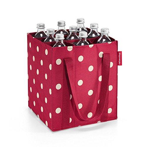 (reisenthel Bottlebag, Foldable, Sturdy 9-Bottle Beverage Carrier, Ruby Dots)