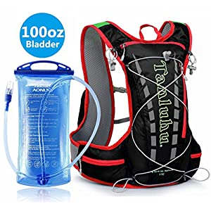 Hydration Pack Running Backpack With 3 Liter 100 OZ Water Bladder BPA Free Waterproof for Hiking Gear Outdoor Lightweight Daypack For Biking Climbing Walking for Man Woman Kids (Black+Red)