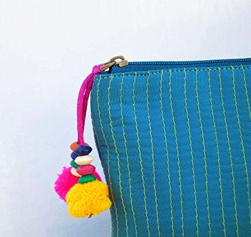 Turquesa, cremallera monedero, maquillaje o cosméticos bolsa, bolsa de utilidad,, seda sintética acolchado, Bohemian
