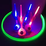 GlowCity PREMIUM Light Up LED Lawn Dart Game - Battery Powered, Uses Fiber Optic Target Rings